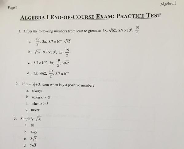 algebra assessment test